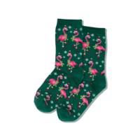 Hot Sox (Womens) Santa Flamingos Socks - Forest