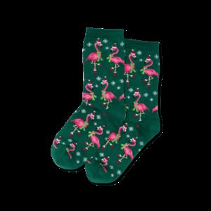 Hot Sox (Womens) Santa Flamingos Socks - Forest