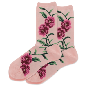 Hot Sox (Womens) Pansy Socks - Blush