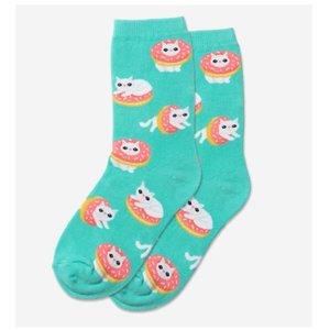 Hot Sox (Youth) Donut Cat Socks - Mint