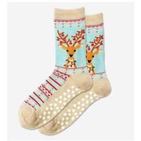 Hot Sox (Womens) Fuzzy Reindeer Non Skid Socks - MNTML