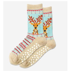 Hot Sox (Womens) Fuzzy Reindeer Non Skid Socks - MNTML