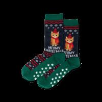 Hot Sox (Womens) Meowy Christmas Non Skid Socks