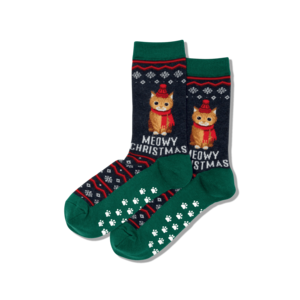 Hot Sox (Womens) Meowy Christmas Non Skid Socks