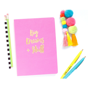 Taylor Elliot Designs Notebook - Big Dreams & Stuff (Neon Pink with Gold Edged Pages)