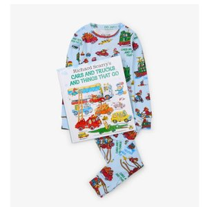 Hatley Long Sleeve Cars and Trucks Pajama Set - W/Book