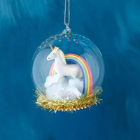 One Hundred 80 Degrees Unicorn in Rainbow Dome Ornament, Glass/Resin, 4.5""