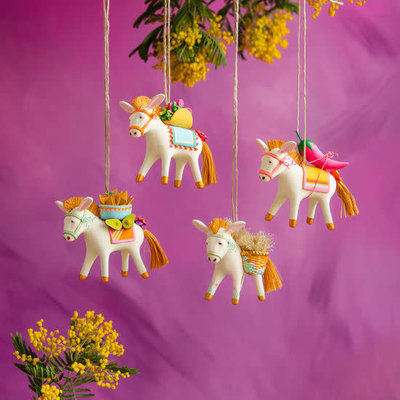 "One Hundred 80 Degrees ""Busby"" The Burro & Friends Ornament, 4 Assorted Colors, Resin, 4.5"