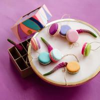 "Glitterville Half & Half Macaron Ornaments (Assorted Colors)  - Resin/Papermache, 1.75"""