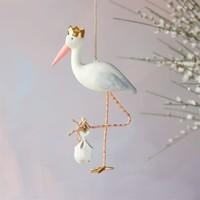 """Glitterville Royal Stork Ornament, Pink Beak, Resin, 7"""""""