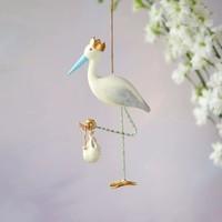 """Glitterville Royal Stork Ornament, Blue Beak, Resin, 7"""""""