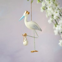 One Hundred 80 Degrees Royal Stork Ornament, Blue Beak, Resin, 7""
