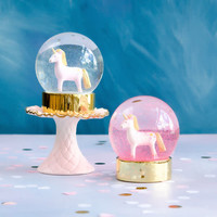 One Hundred 80 Degrees Hot Pink - Unicorn Snow Globe 5""