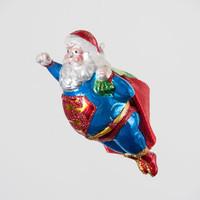 """Glitterville Super Santa Ornament, Glass, 5.5"""""""