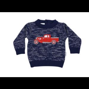 Korango Vintage Car Knit Sweater - Navy Fleck