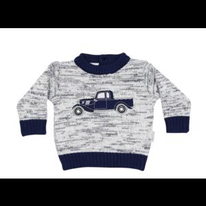 Korango Vintage Car Knit Sweater - White Fleck