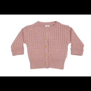 Korango Cardigan - Modern Vintage Cable Knit - Pink