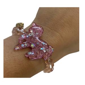 Bari Lynn Stretchy Beaded Bracelet - Pink Unicorn with Silver Glitter Stars