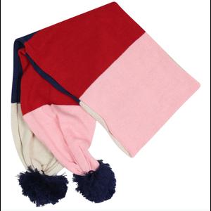 Korango Scarf - Pink/Red/Navy Color Block with Navy Pom Poms