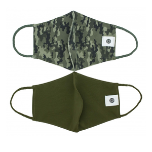 Pomchies 2 pack of Reusable Face masks - Camo & Solid Hunter Green (Ages 6-Adult) FINAL SALE