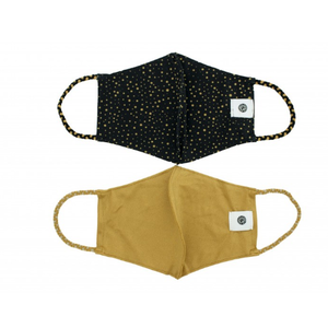Pomchies 2 pack of Reusable Face masks - Black with Gold Dots & Solid Gold (Ages 6-Adult) FINAL SALE