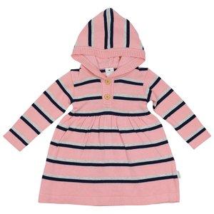 Korango Knit Dress - Pink with Navy Stripes with Hood