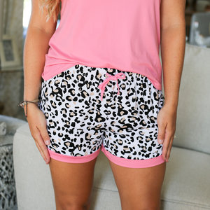 The Royal Standard Leopard Sleep Shorts White/Black/Pink