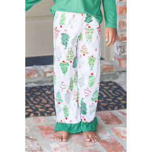 The Royal Standard Youth Treeful Pajama Pants with Ruffle - White/Green/Pink