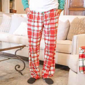 The Royal Standard Men's Alpine Plaid Flannel Sleep Pants True Red/White/Green