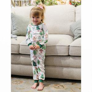 The Royal Standard Kid's Treeful Pajama Pants & Top - White/Green/Pink