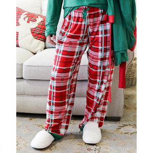 The Royal Standard Alpine Plaid Sleep Pajama Pants - True Red/White/Green