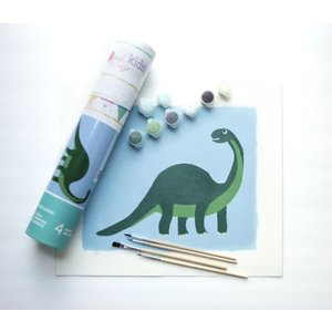 Pink Picasso Kits Pink Picasso - Kids Dinosaur - Paint By Numbers on Canvas