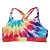 Candy Pink Rainbow Starburst Crop Top - Multi Color