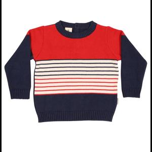 Korango Autumn Class Knit Sweater - Blue/Red/White Stripes
