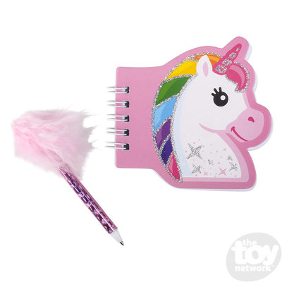 """The Toy Network 3.5"""" Unicorn 0tebook with Feather Pen"""