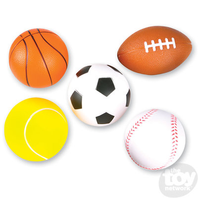The Toy Network Foam Sports Balls - Choice of Basketball, Soccer, Football, Tennis and Baseball