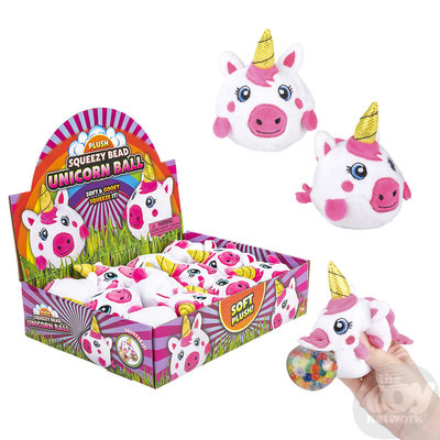 The Toy Network Plush Squeezy Bead Unicorn Ball