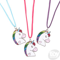 "The Toy Network Glitter Unicorn Necklace (16"")"