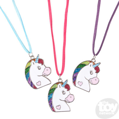 """The Toy Network Glitter Unicorn Necklace (16"""")"""