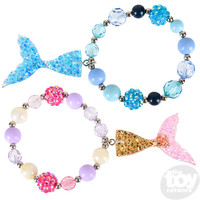 The Toy Network Mermaid Tail Beaded Charm Bracelet (choice of blue or gold)