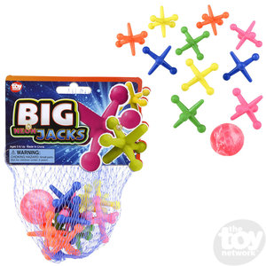 The Toy Network Big Neon Jacks - 11 Piece Set