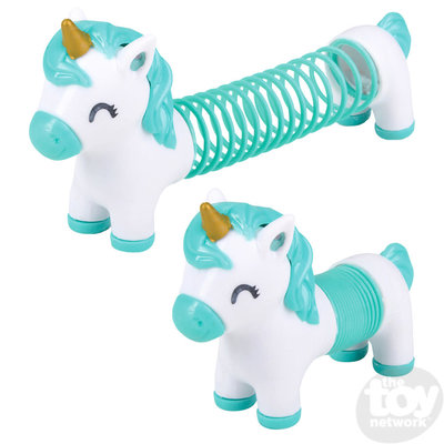 The Toy Network Rainbow Spring Slinky with Unicorn Head