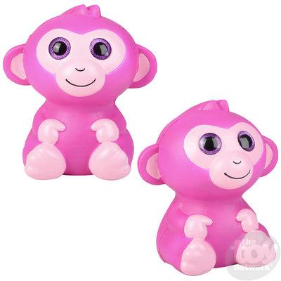 The Toy Network Jumbo Sparkle Eye Pink Monkey Squishie
