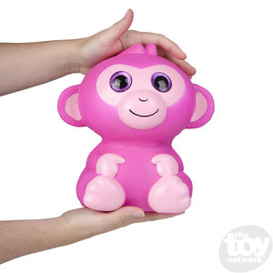 The Toy Network Jumbo Sparkle Eye Pink Monkey Squishie