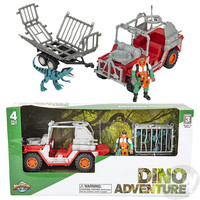 The Toy Network Dinosaur Adventure 4 Piece Playset (red jeep, trailer with dino and man figurine)
