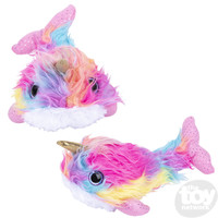 The Toy Network Furry Rainbow Narwhal Plush Stuffed Animal