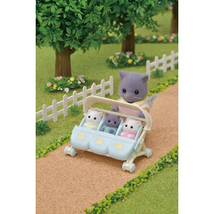 Calico Critters Triplets Stroller - 2n1 Stroller & Car Seats