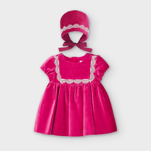 Mayoral Velvet Cord Dress with Bonnet