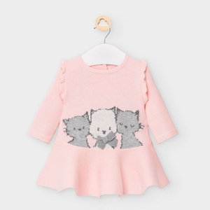 Mayoral Pink Knit Dress w/ Kittens