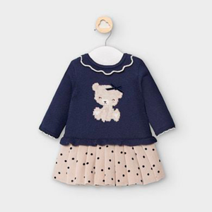 Mayoral Navy Knit Dress - Polka Dots with Bear & Ruffle Collar